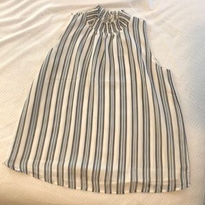 Ann Taylor Striped Ruffle Neck Shell